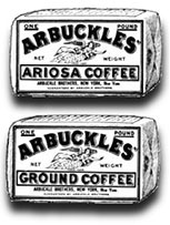 "Kristin Holt | Victorian Coffee. Arbuckles Ariosa Coffee advertisememtn, circa 1880s. ""Arbuckles"" was a common name substituted for 'coffee', the way today's 'kleenex' is a common noun after the Kleenex (facial tissues) brand."""