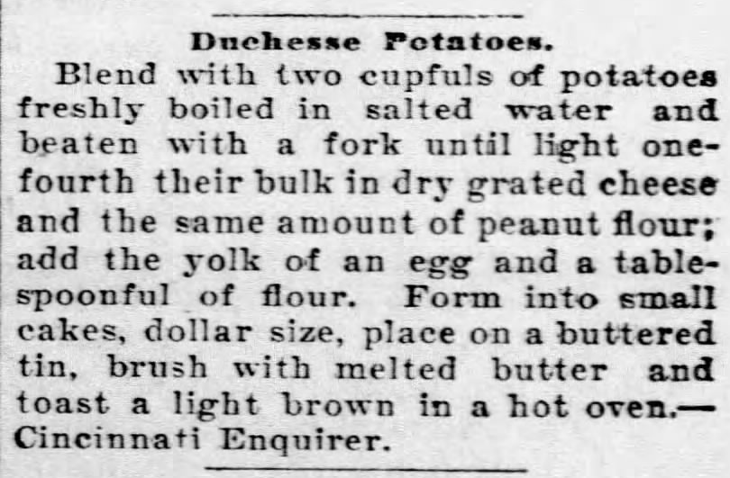 Kristin Holt | Peanut Butter in Victorian America. Recipe for Duchesse Potatoes using Peanut Flour. From The Kansas Patron of Olathe, Kansas. December 1, 1898.