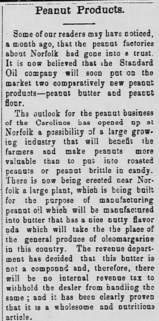 Kristin Holt | Peanut Butter in Victorian America. Newspaper Article: Peanut Products,, Part 1 of 2. From The Watchman and Southron of Sumter, South Carolina. April 19, 1899.