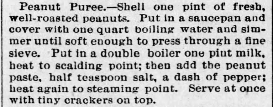 Kristin Holt | Peanut Butter in Victorian America. Recipe for Peanut Puree. From The Baltimore Sun of Baltimore, Maryland. October 10, 1894.