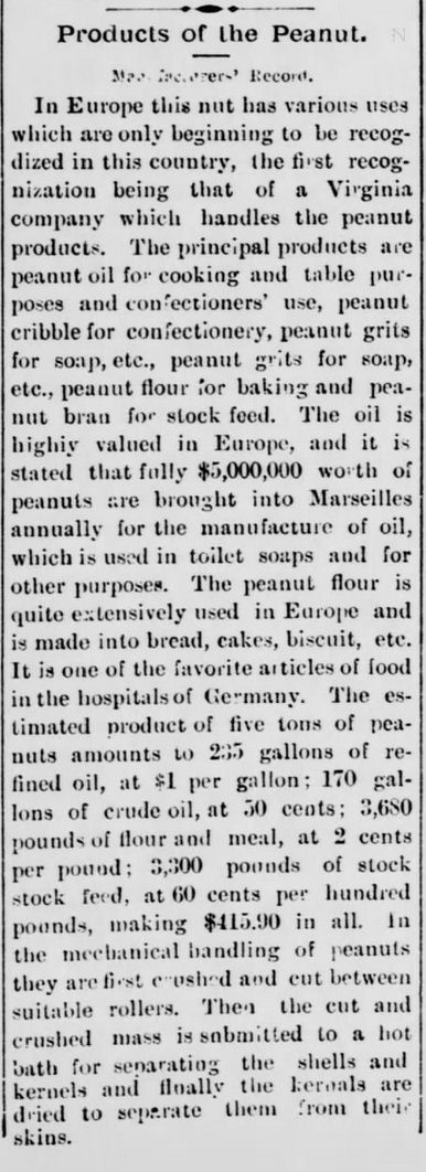 Kristin Holt | Peanut Butter in Victorian America. Products of the Peanut. Newspaper article from The Washington Standard of Olympia, Washington. November 11, 1898.