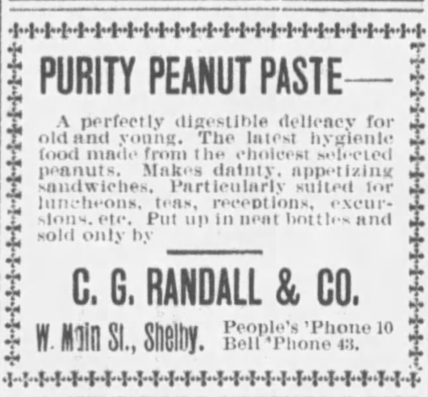 Kristin Holt | Peanut Butter in Victorian America. Purity Peanut Paste advertisememnt in News-Journal of Mansfield, Ohio. March 30, 1900.
