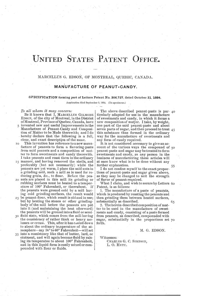 Kristin Holt | Peanut Butter in Victorian America. Image: United States Patent No. 306727, for the method of creating peanut butter, awarded to Marcellus G. Edson of Montreal, Quebec, Canada (1884).