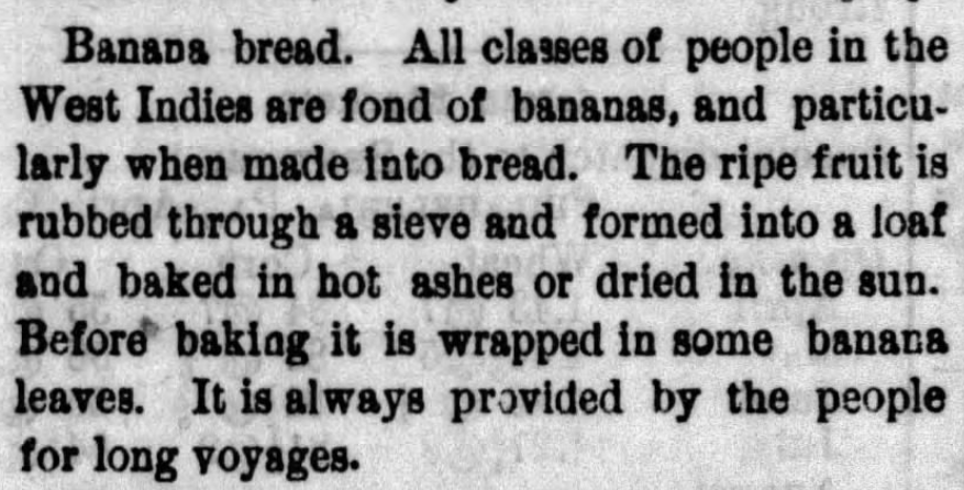 "Kristin Holt | Victorian America's Banana Bread | Newspaper clipping titled ""Breads of the Nations"" from The Sentinel of Carlisle, PA on April 26, 1882."