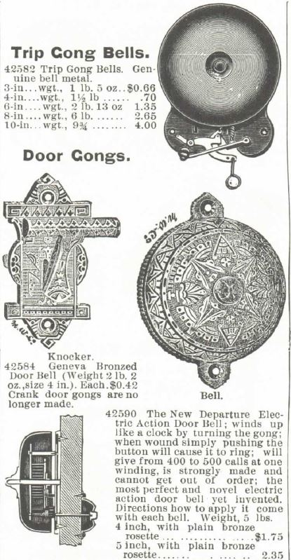 Kristin Holt | Image of 19th Century Turnkey doorbells for sale in the Montgomery Ward Spring and Summer Catalog of 1895. Part 1.