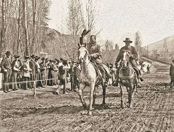 "Image with caption: Theodore Roosevelt returning from a hunt, Glenwood Springs, Colorado, circa <strong>1905</strong>. Notice the superb ""Tip of the Hat"". Image courtesy of <a href=""https://truewestmagazine.com/cowboy-hat-etiquette/"" target=""_blank"" rel=""noopener"">True West Magazine, <em>Cowboy Hat Etiquette</em></a>."