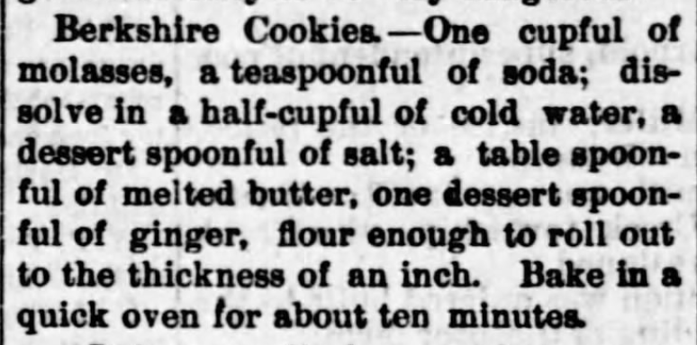 Kristin Holt | Victorian Gingerbread Cookies. Berkshire Cookies Recipe, from The Iola Register of Iola, Kansas on April 12, 1889.