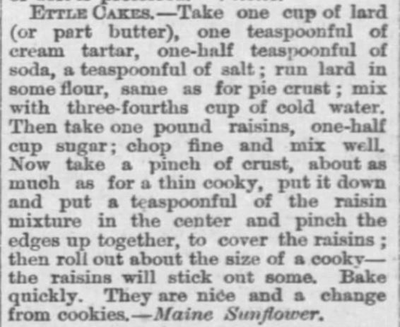 Kristin Holt | Ettel Cakes (fancy cookies made with raisins), The Peabody Gazette-Herald of Peabody, Kansas on May 18, 1882.