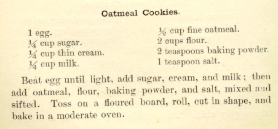 Kristin Holt | Victorian Oatmeal Cookies. Fannie Merritt Farmer's Oatmeal Cookie Recipe. The Boston Cooking-School Cook Book, 1st edition, 1896.