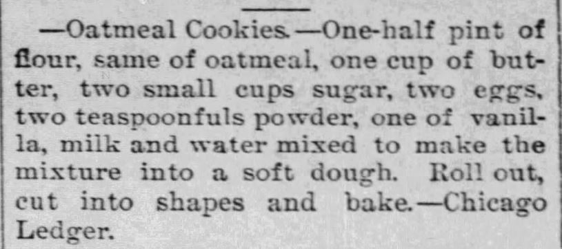 Kristin Holt | Victorian Oatmeal Cookies (with vanilla). Published in The News-Courant of Cottonwood Falls, Kansas on February 16, 1893.