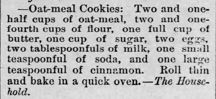 Kristin Holt | Oatmeal Cookies (with cinnamon), published in LeRoy Re[orter of LeRoy, Kansas on June 26, 1886.