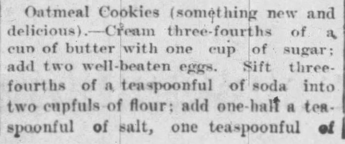 Kristin Holt | Victorian Oatmeal Raisin Cookies: Oatmeal Cookies WITH Raisins, Part 1 of 2. The Journal-Times of Racine, Wisconsin on December 22, 1900.