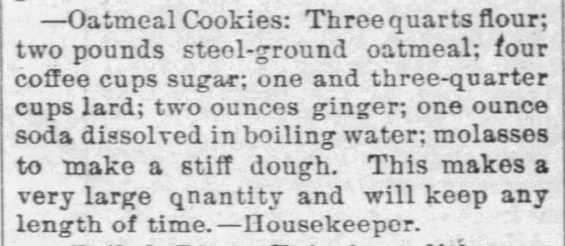Kristin Holt | Victorian Oatmeal Cookies (with molasses and ginger), published in The Paola Times of Paola, Kansas on August 21, 1890.