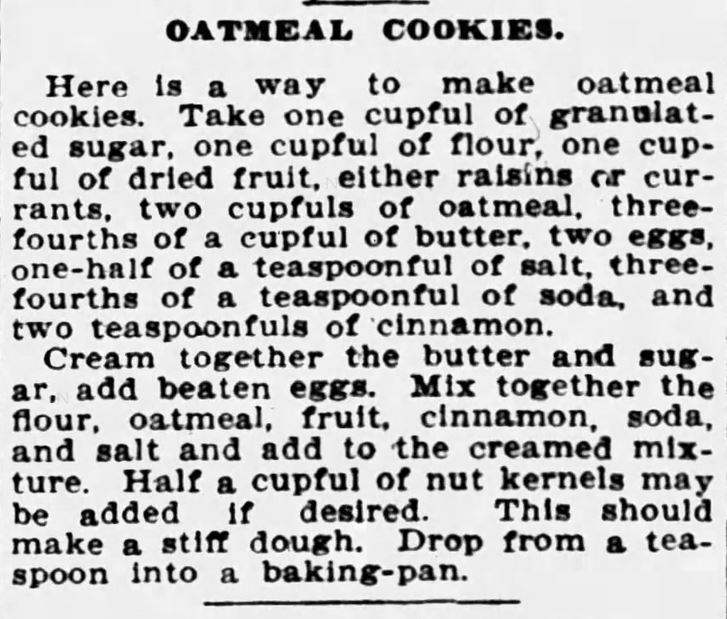Kristin Holt | Victorian Oatmeal Raisin Cookies. Oatmeal Cookies (with raisins!), published in Buffalo Courier of Buffalo, New York on December 30, 1904.