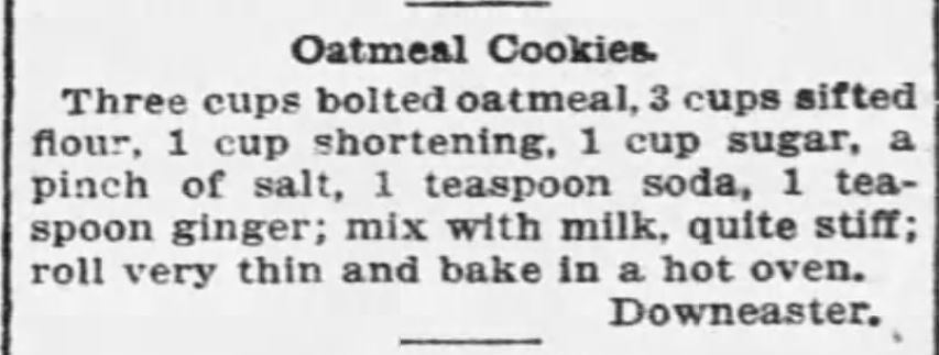 Kristin Holt | Victorian Oatmeal Cookies Recipe. Published in The Boston Globe on September 4, 1895.
