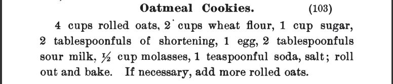 Kristin Holt | Victorian Oatmeal Cookies Recipe. Published in The Cook Book: Three Hundred Tested REcipes, 2nd Edition, 1895.