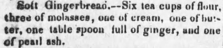 Kristin Holt | Soft Gingerbread Recipe. Published in The Cadiz Sentinel of Cadiz, Ohio. May 21, 1851.