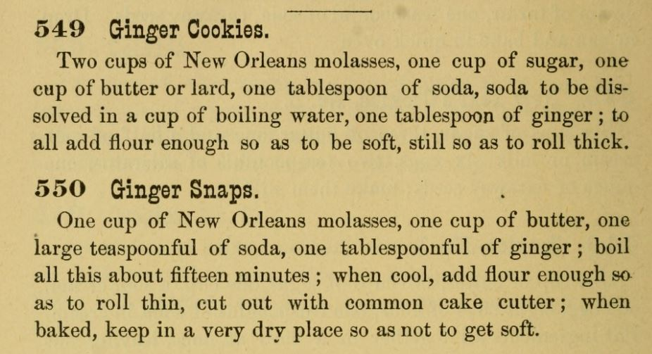 Kristin Holt | Victorian Gingerbread Recipes: Ginger Cookies and Ginger Snaps, published in The Home Messenger Book of Tested Recipes, 2nd Edition, 1878. By Isabella Stewart.