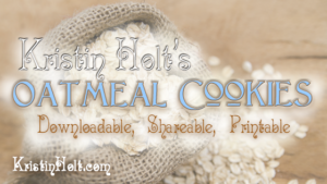 Author Kristin Holt's Oatmeal Cookies Recipe: to download, save, share, print. Related to Sandy Turtles.