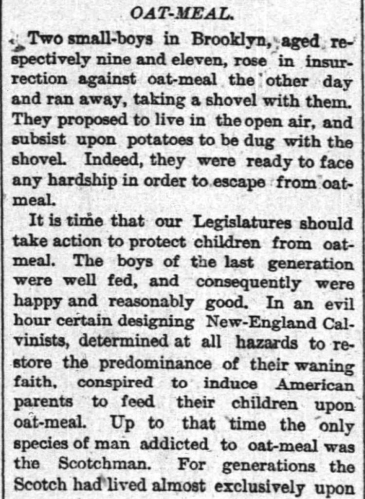 Kristin Holt | Oat-Meal: Protect the Children, Part 1 of 4: The New York Times of New York, New York. June 12, 1884.