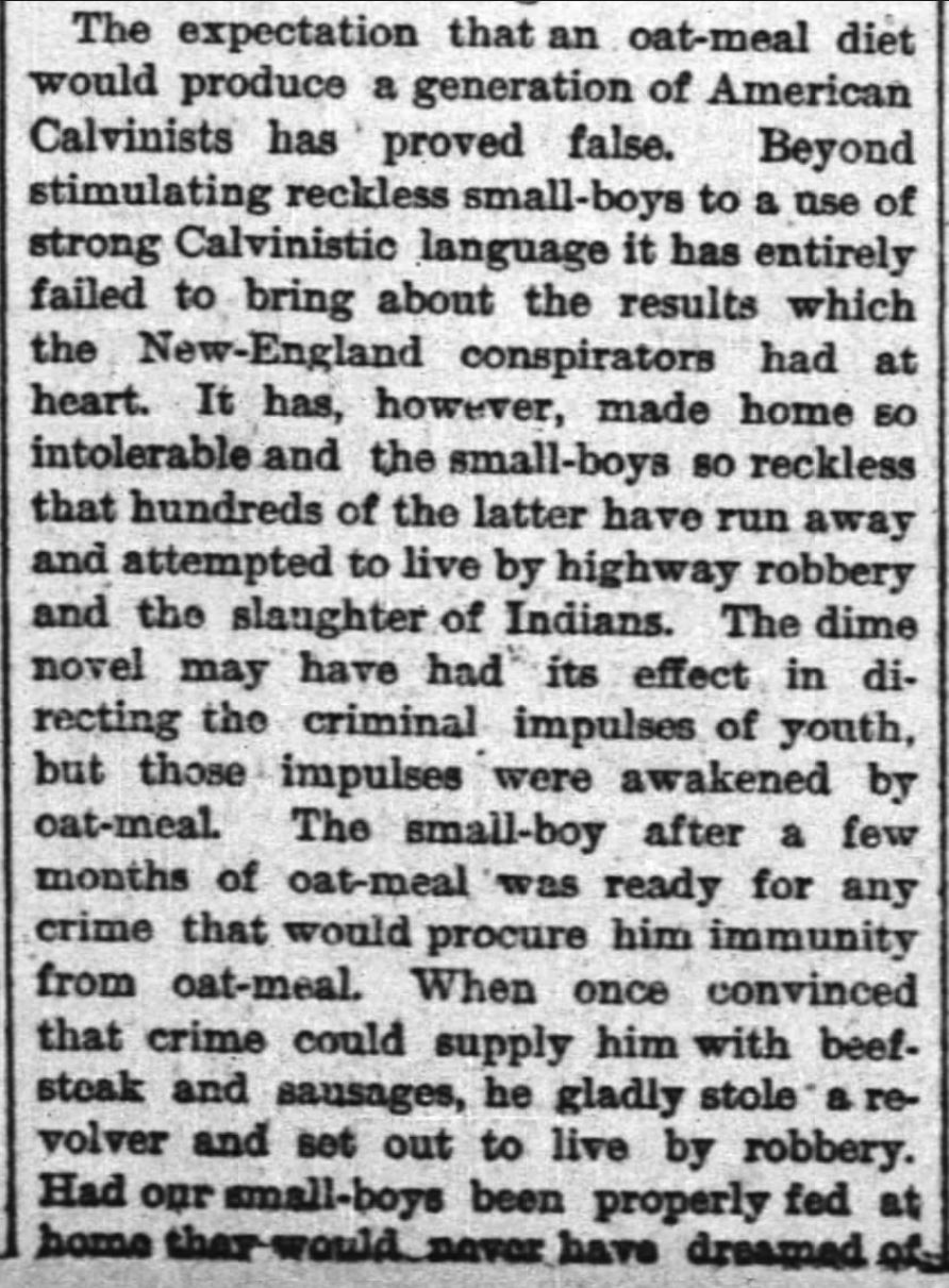 "Kristin Holt | ""Oat-meal"": Protect the Children, Part 3, New York Times, June 12, 1884."