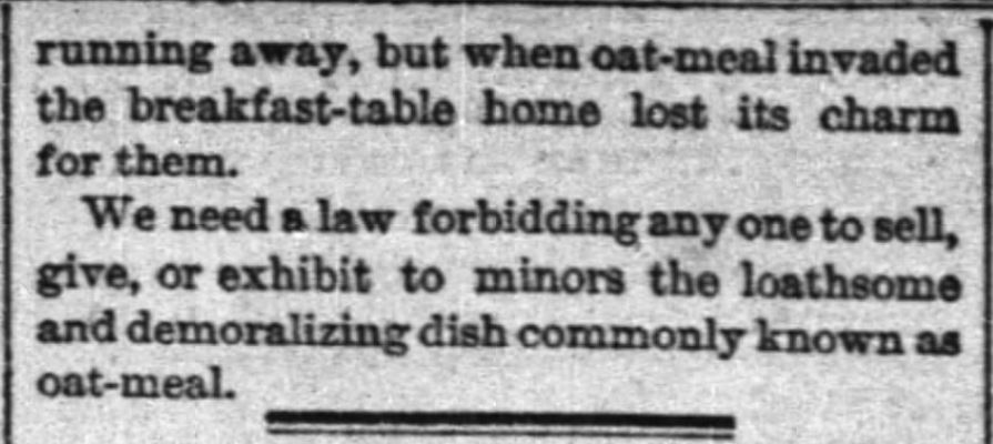 "Kristin Holt | ""Oat-meal"": Protect the Children, Part 4, New York Times, June 12, 1884."