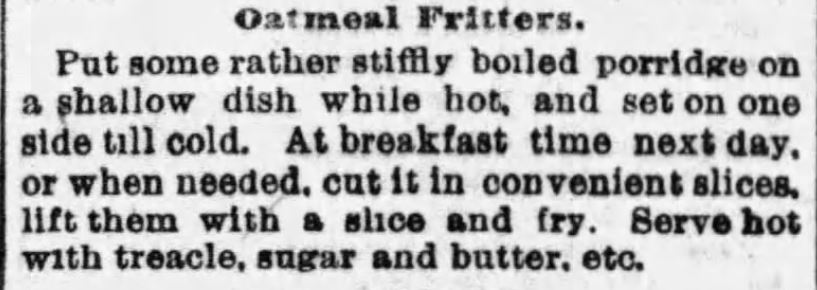 Kristin Holt | Oatmeal Fritters published in The Boston Globe of Boston, Massachusetts on January 22, 1893.