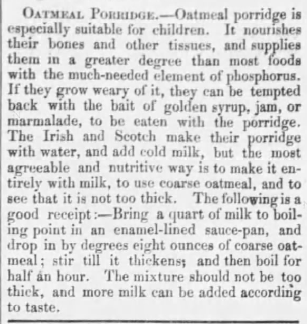 """Oatmeal Porridge"" information, serving suggestions, and a good ""receipt"", from New England Farmer of Boston, Massachusetts on February 10, 1877. Included in ""Victorian Oatmeal Porridge Recipe"" by Author Kristin Holt."