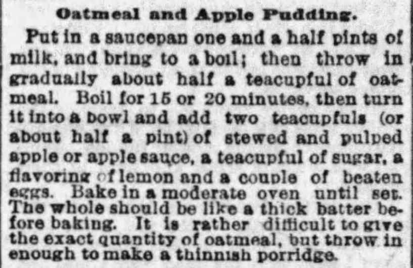 Kristin Holt | Oatmeal and Apple Pudding Recipe published in The Boston Globe on January 22, 1893.