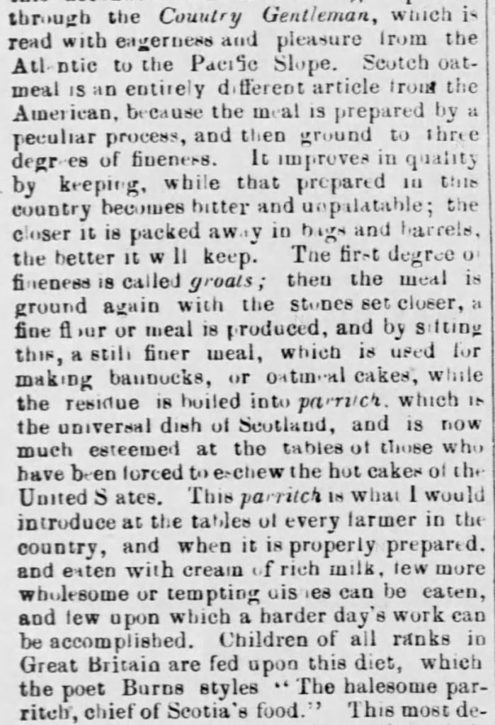 "Kristin Holt | ""Oatmeal for Food (1873)"" published in <em>Green Mountain Freeman</em> of Montpelier, VT on May 21, 1873. Included in an article of the same name by Author Kristin Holt. Part 2 of 7."