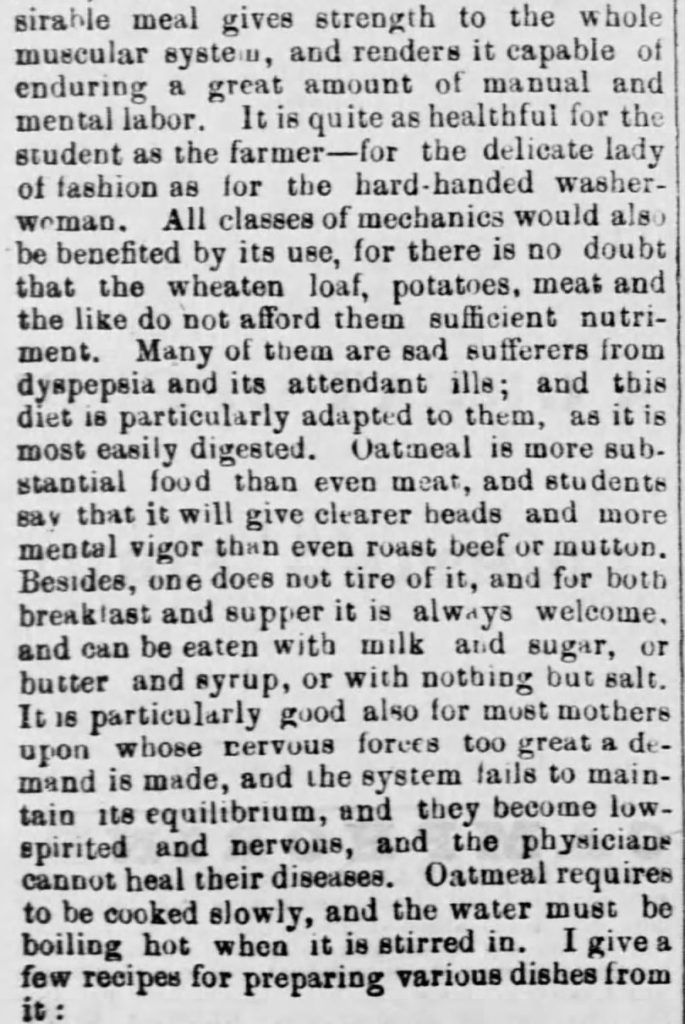 """Oatmeal for Food (1873)"" published in <em>Green Mountain Freeman</em> of Montpelier, VT on May 21, 1873. Included in an article of the same name by Author Kristin Holt. Part 3 of 7."