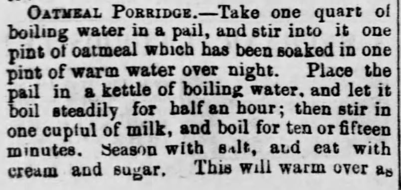 """Oatmeal for Food (1873)"" published in <em>Green Mountain Freeman</em> of Montpelier, VT on May 21, 1873. Included in an article of the same name by Author Kristin Holt. Part 4 of 7."