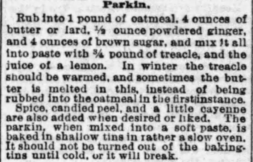 Kristin Holt | Parkin Recipe Calls for Oatmeal, published in The Boston Globe of Boston, Massachusetts on January 22, 1893.