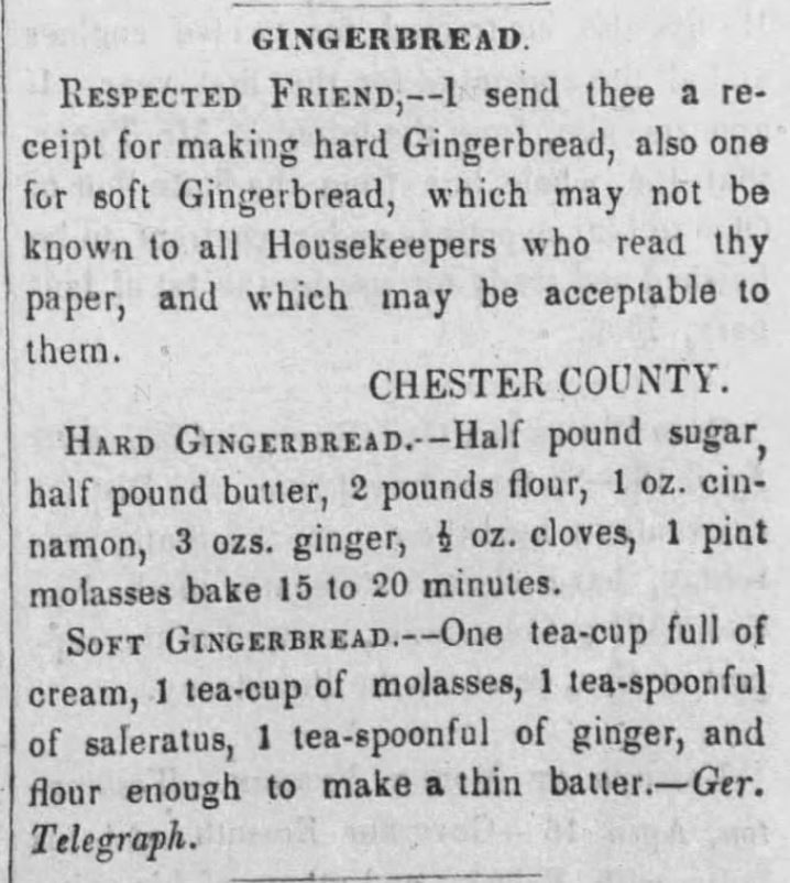 Kristin Holt | Hard and Soft Victorian Gingerbread Recipes. From The Sunbury Gazette and Northumberland County Republican. Sunbury, Pennsylvania. April 24, 1852.