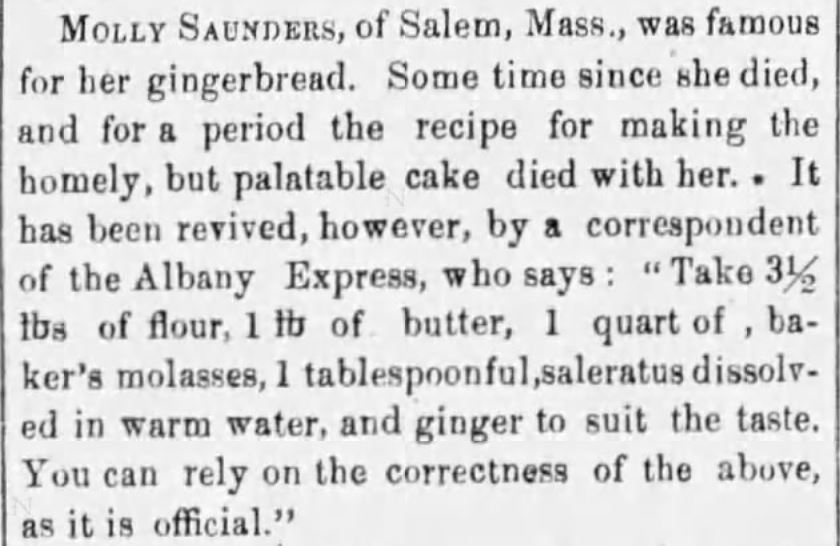 Kristin Holt | Molly's Victorian Gingerbread Recipe. Published in The Buffalo Daily Republic of Buffalo, New York. October 26, 1855.