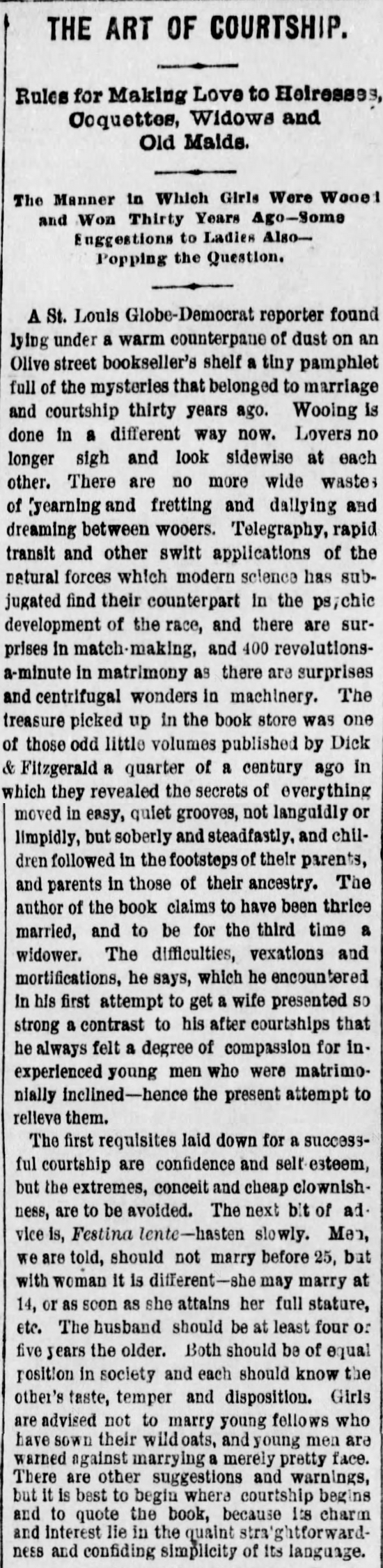 Kristin Holt | The Art of Courtship, Introduction, from The Des Moines Register of Des Moines, IA on February 20, 1887