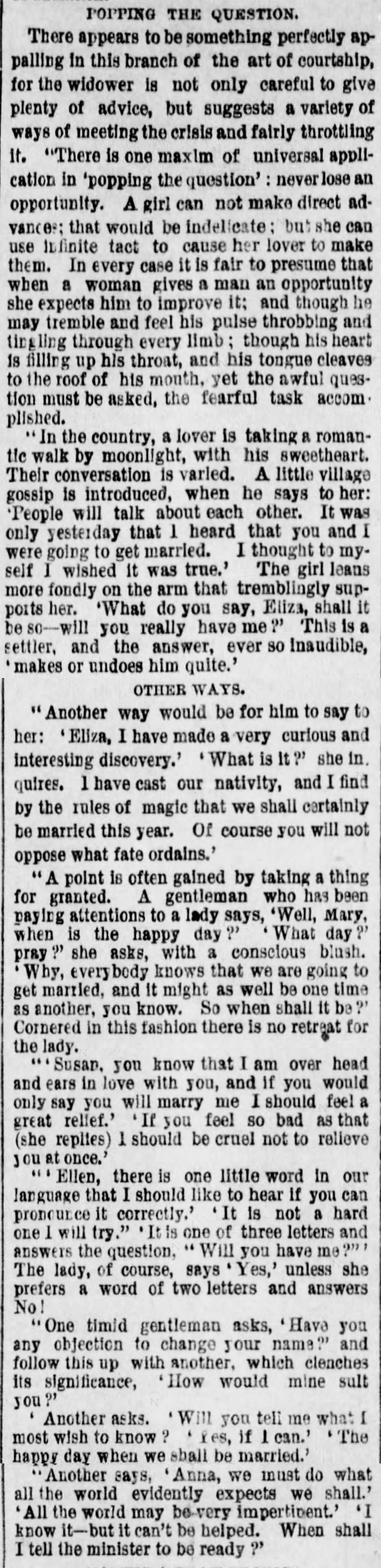 Kristin Holt | The Art of Courtship, Part 11: Popping the Question, from The Des Moines Register of Des Moines, IA on February 20, 1887.