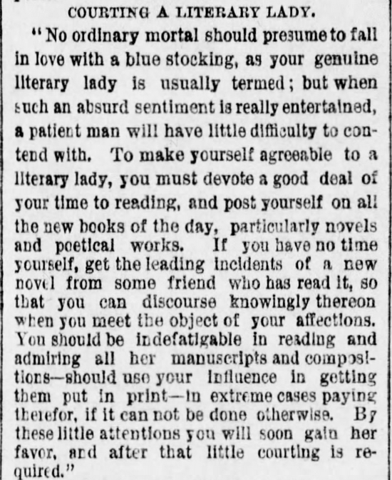 Kristin Holt | The Art of Courtship, Part 8: Courting a Literary Lady, from The Des Moines Register of Des Moines, IA on February 20, 1887.
