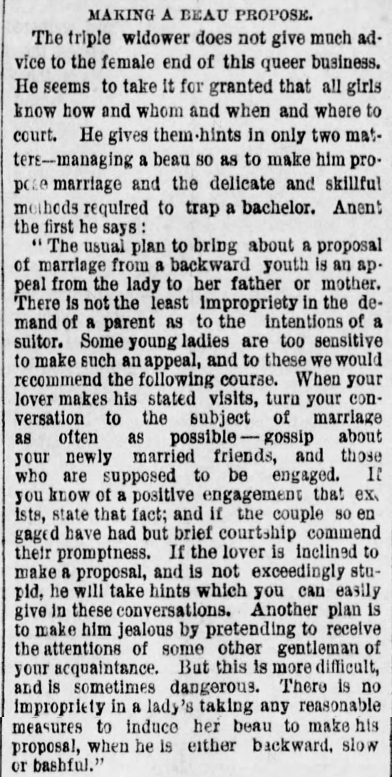 Kristin Holt | The Art of Courtship, Part 12: Making a Beau Propose, from The Des Moines Register of Des Moines, IA on February 20, 1887.