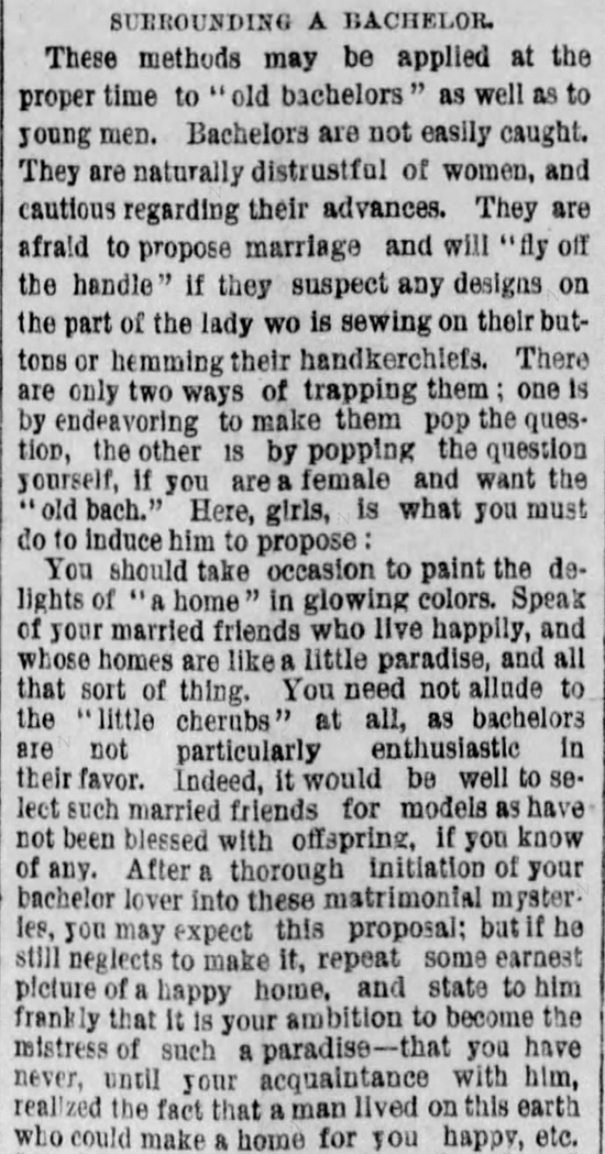 Kristin Holt | The Art of Courtship, Part 13: Surrounding a Bachelor, from The Des Moines Register of Des Moines, IA on February 20, 1887.