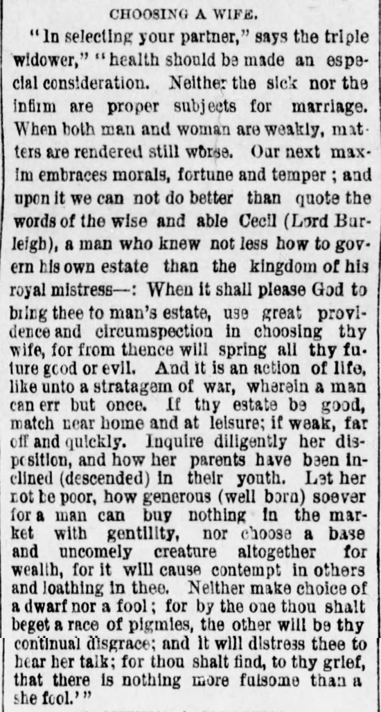 Kristin Holt | The Art of Courtship, Part 2: Choosing a Wife, from The Des Moines Register of Des Moines, IA on February 20, 1887