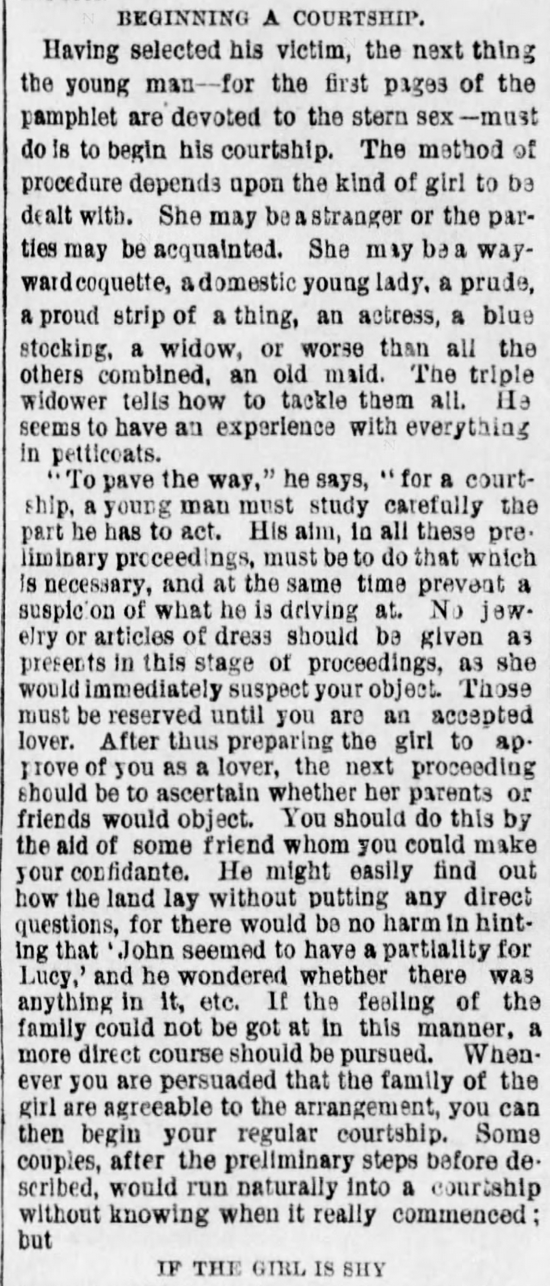 Kristin Holt | The Art of Courtship, Part 3: Beginning a Courtship, from The Des Moines Register of Des Moines, IA on February 20, 1887.