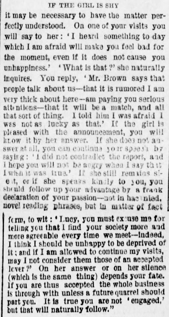 Kristin Holt | The Art of Courtship, Part 4: If the Girl is Shy, from The Des Moines Register of Des Moines, IA on February 20, 1887.