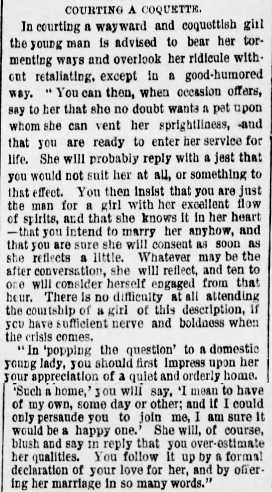 Kristin Holt | The Art of Courtship, Part 5: Courting a Coquette, from The Des Moines Register of Des Moines, IA on February 20, 1887.