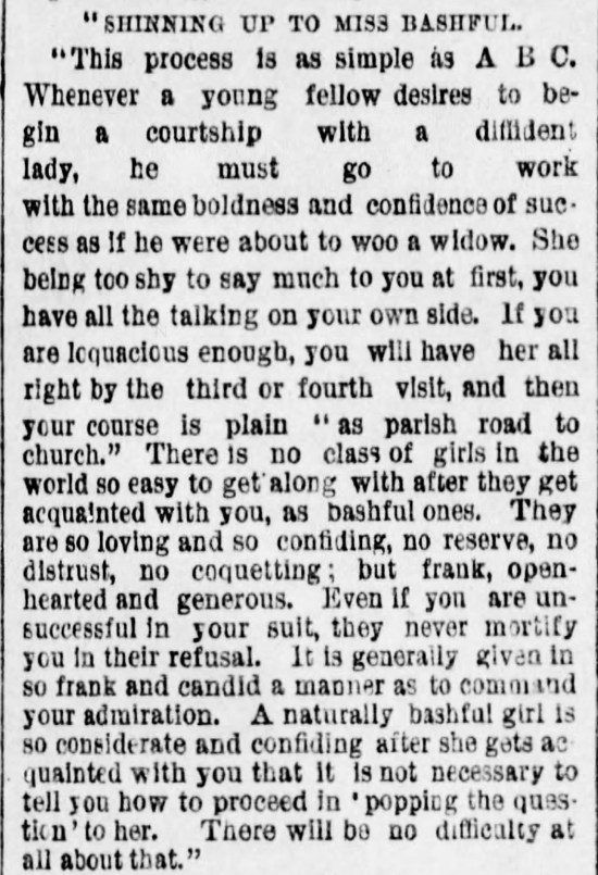 Kristin Holt | The Art of Courtship, Part 6: Shinning Up to Miss Bashful, from The Des Moines Register of Des Moines, IA on February 20, 1887.