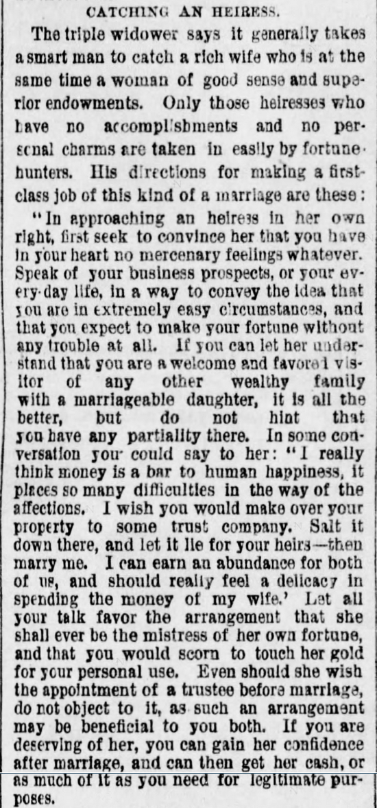 Kristin Holt | The Art of Courtship, Part 7: Catching an Heiress, from The Des Moines Register of Des Moines, IA on February 20, 1887.