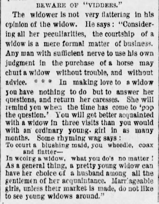 "Kristin Holt | The Art of Courtship, Part 9: Beware of ""Vidders"" [widows], from The Des Moines Register of Des Moines, IA on February 20, 1887."