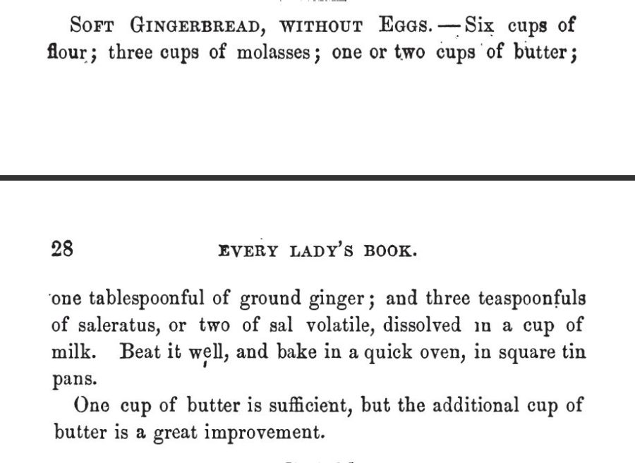 Kristin Holt | Victorian Gingerbread Recipes: Soft Gingergread Without Eggs. Published in Every Lady's Cook Book, 1854.