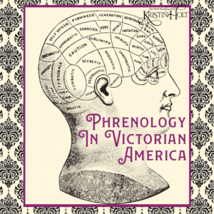 Kristin Holt | Blondes are Favorites. Image: vintage etching illustration of a phrenology outline upon a human head. Phrenology in Victorian America. Related to Victorian Hair Indicative of Character.