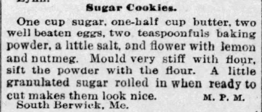 Kristin Holt | Sugar Cookies in Victorian America | Sugar Cookies recipe from The Boston Globe, Boston, Massachusetts on November 1, 1885.